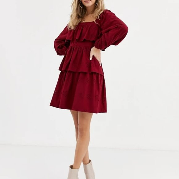 ASOS DESIGN broderie square neck ruffle mini dress